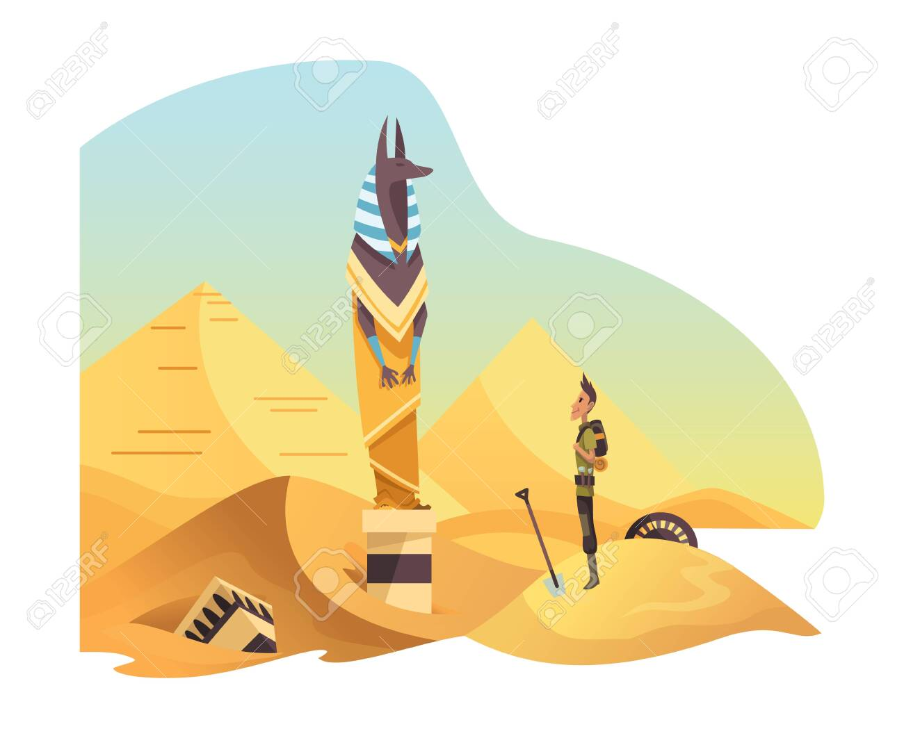 Egyptian archaeology. Man stand in front of anubis ancient egyptian god. Canine head deity of death, mummification, afterlife - 150143375
