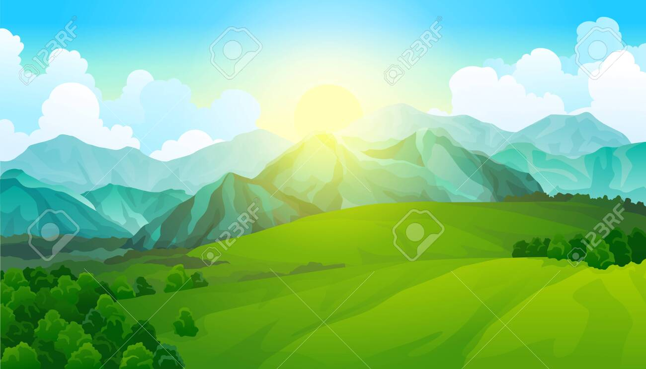 Landscape green meadows with mountains. Summer valley view. Landscape hill field. Wild nature grass and forest in countryside. Summer vector land with sunrise - 153238520