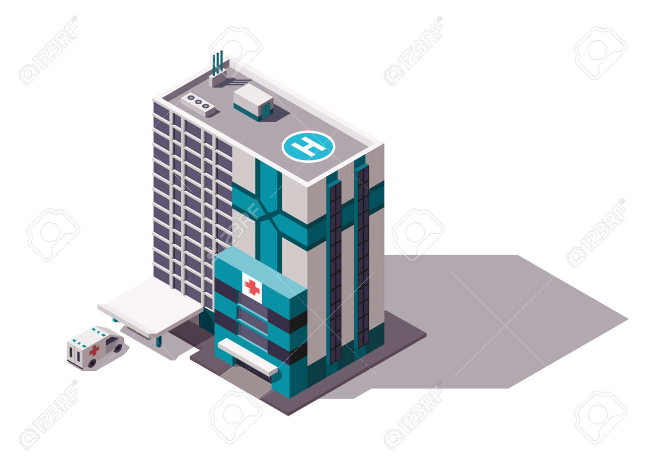 Isometric hospital or ambulance building mockup with signage, helicopter pad and transportation or ambulance van for first aid. Vector flat isolated infographic city element - 166898327
