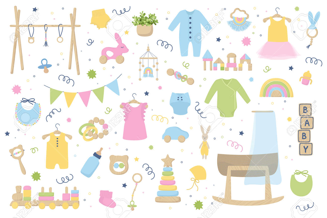 Baby trendy clothes, accessories and wooden toys. Zero waste Nursery collection with body suit, montessori toys, cradle, bassinet. Hand drawn vector illustration set isolated on white background. - 167254927