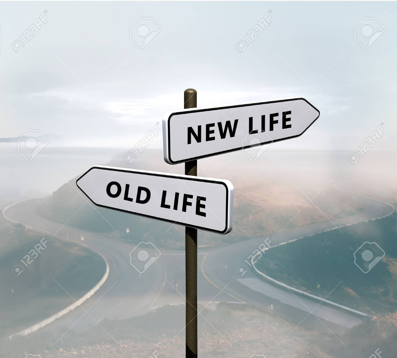 New life vs old life sign - 114746389