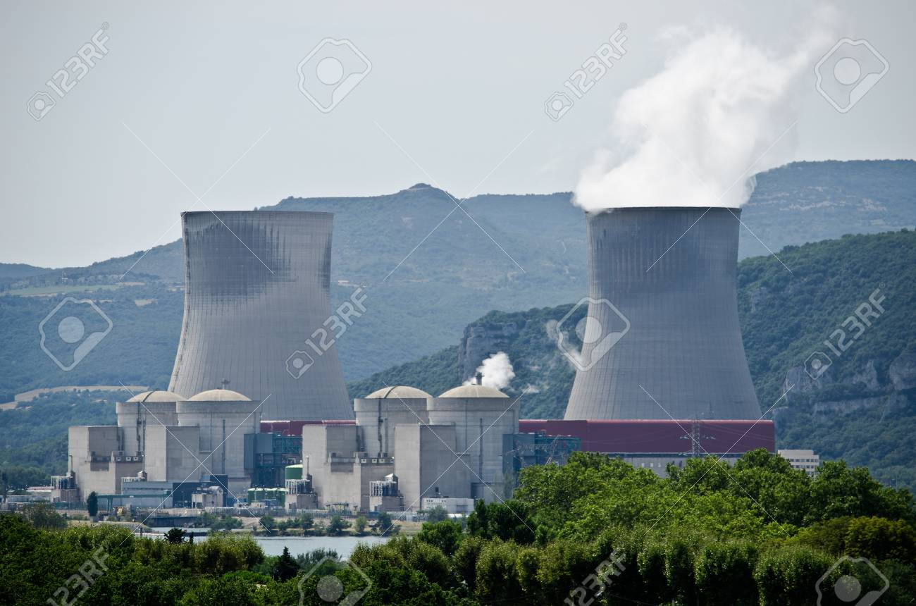 Nuclear plant generating electricity. Two towers among hills Stock Photo - 15038557