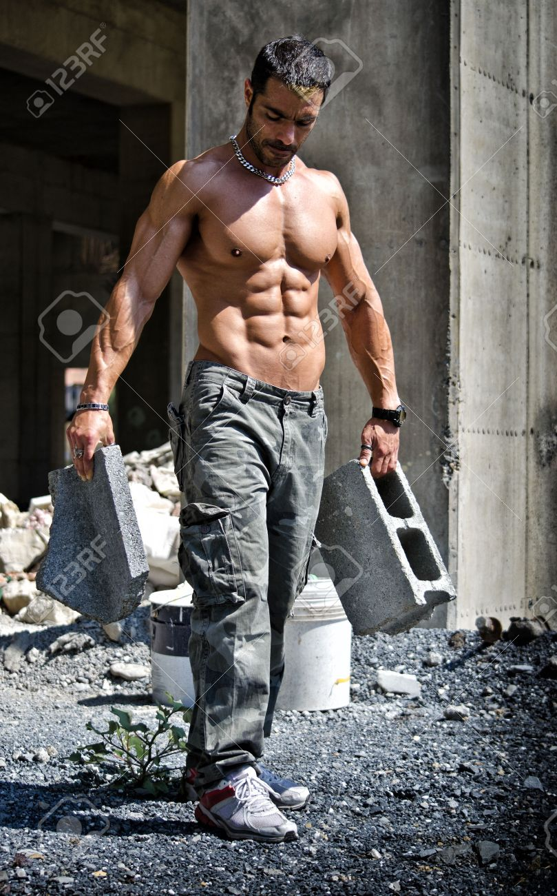 Hot hispanic male construction workers