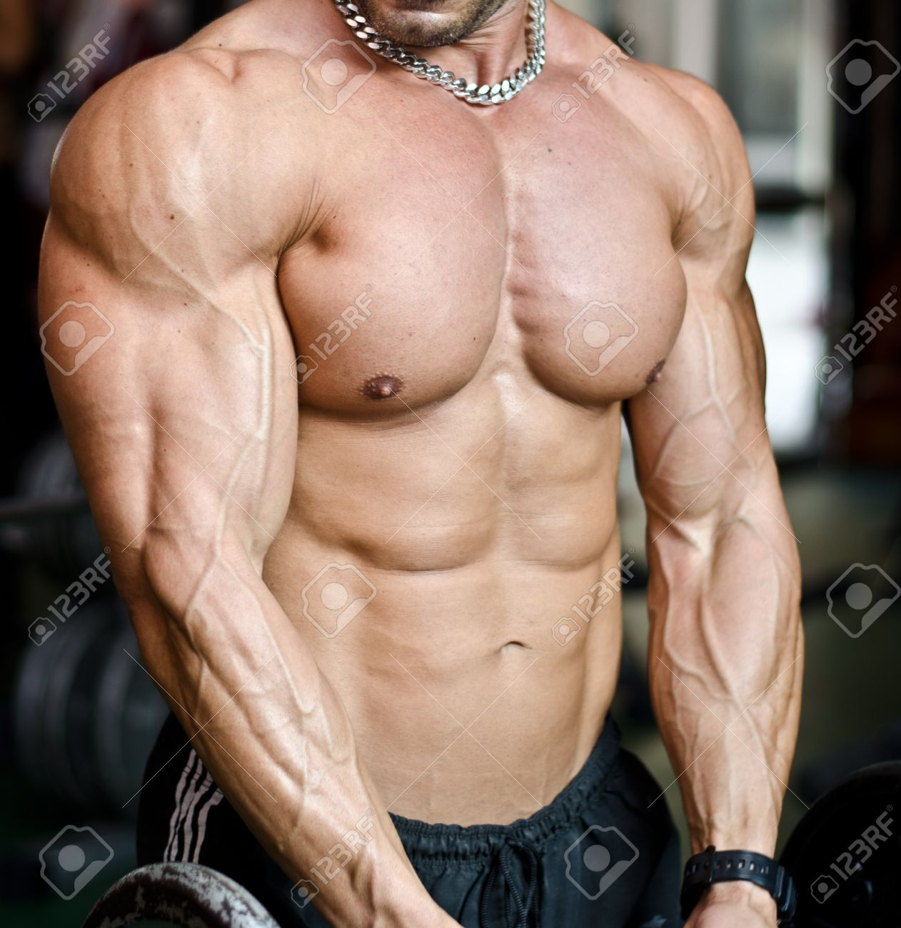 Muscular Torso Pecs Abs And Arms Of Male Bodybuilder In Gym Stock