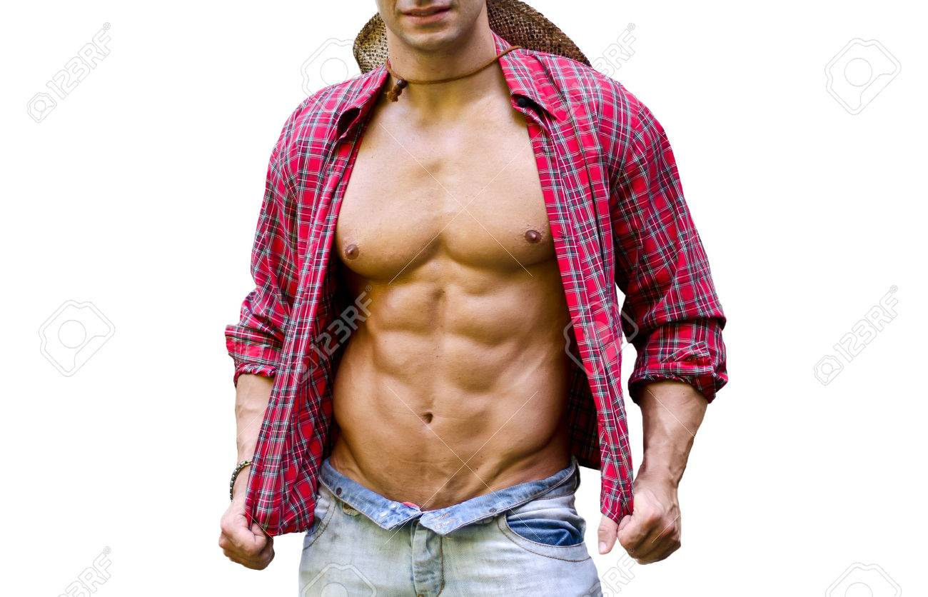 Muscular Chest Of Male Bodybuilder With Open Shirt Showing Ripped