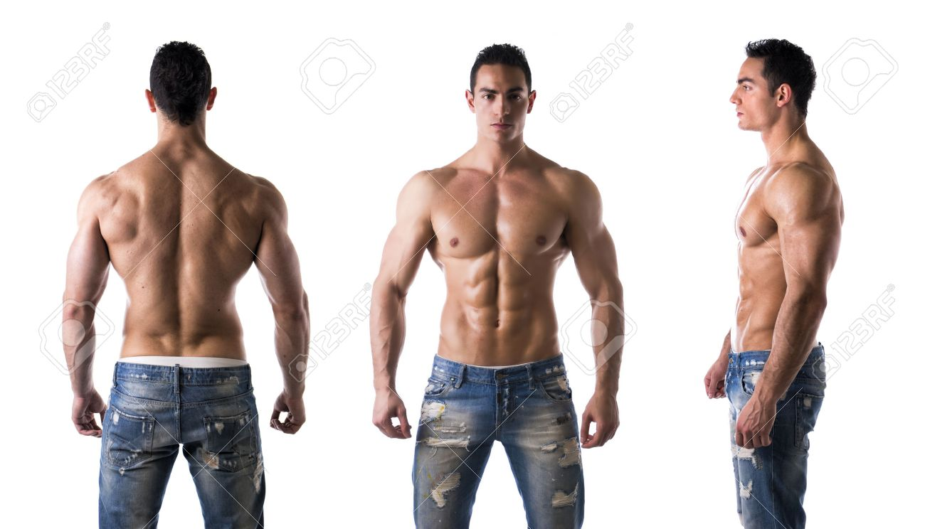 Three Views Of Muscular Shirtless Male Bodybuilder: Back, Front ...