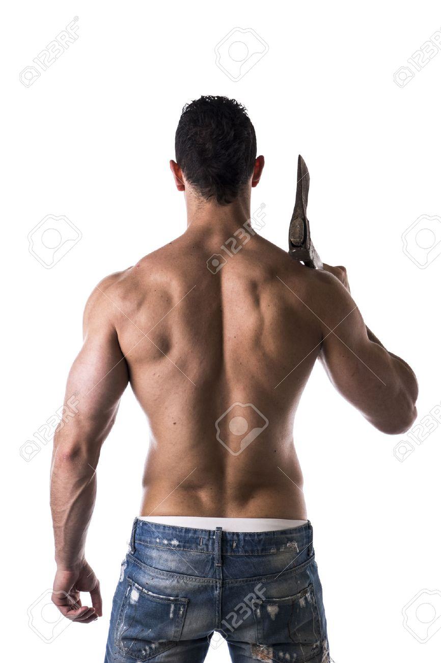 muscle man with axe back view on white background stock photo