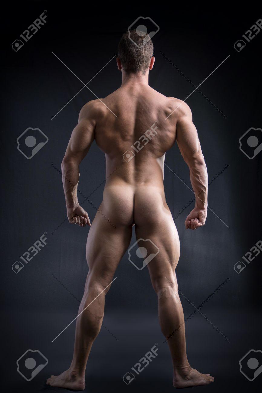 Body Fit Totalement Nu Homme Face Retour Exposer Fesses Et Arriere Sur Fond Fonce Banque D Images Et Photos Libres De Droits Image 38805377