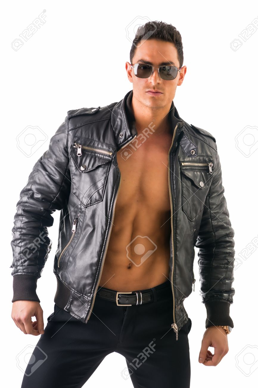Handsome Muscle Man Wearing Leather Jacket On Naked Torso ...