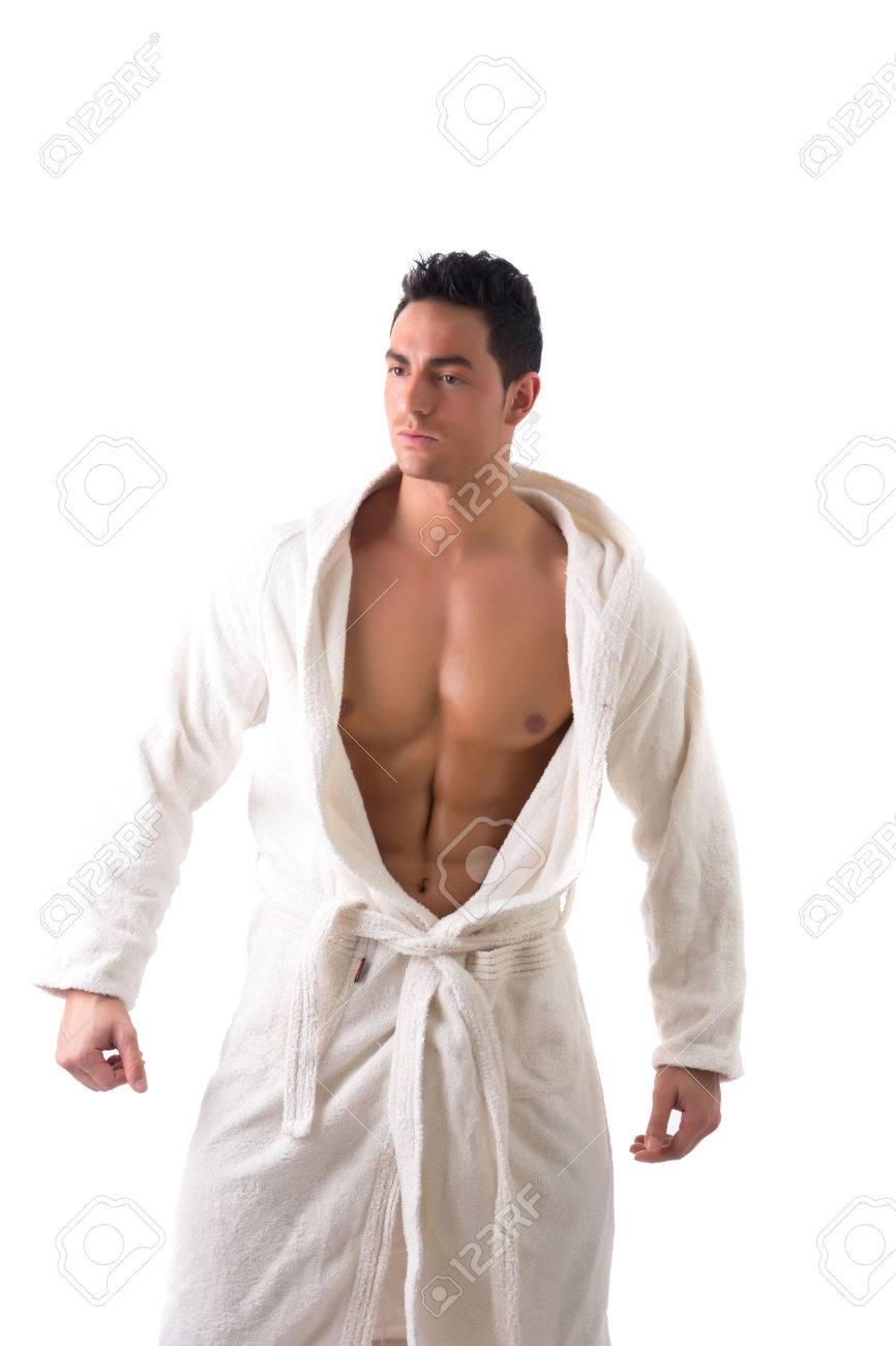 Gut Aussehender Junger Mann Mit Muskel Weißen Bademantel, Hält Es ...