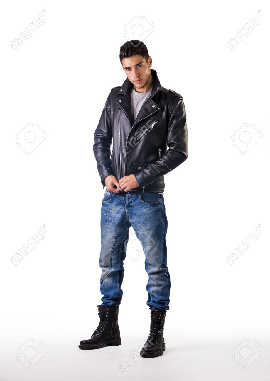 Handsome Young Man Wearing Leather Jacket, T-shirt And Jeans ...