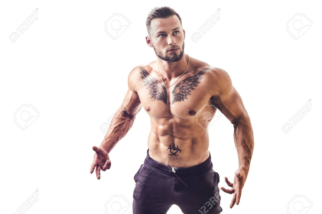 Stattlicher Mit Nacktem Oberkörper Muskulöser Mann, Stehend ...