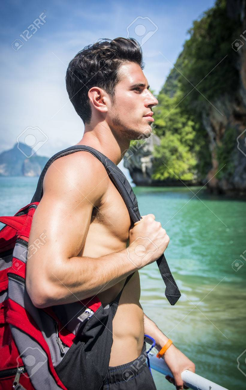 Portrait Der Jungen Schönen Nackten Brust Brunet Mann Wegschauen