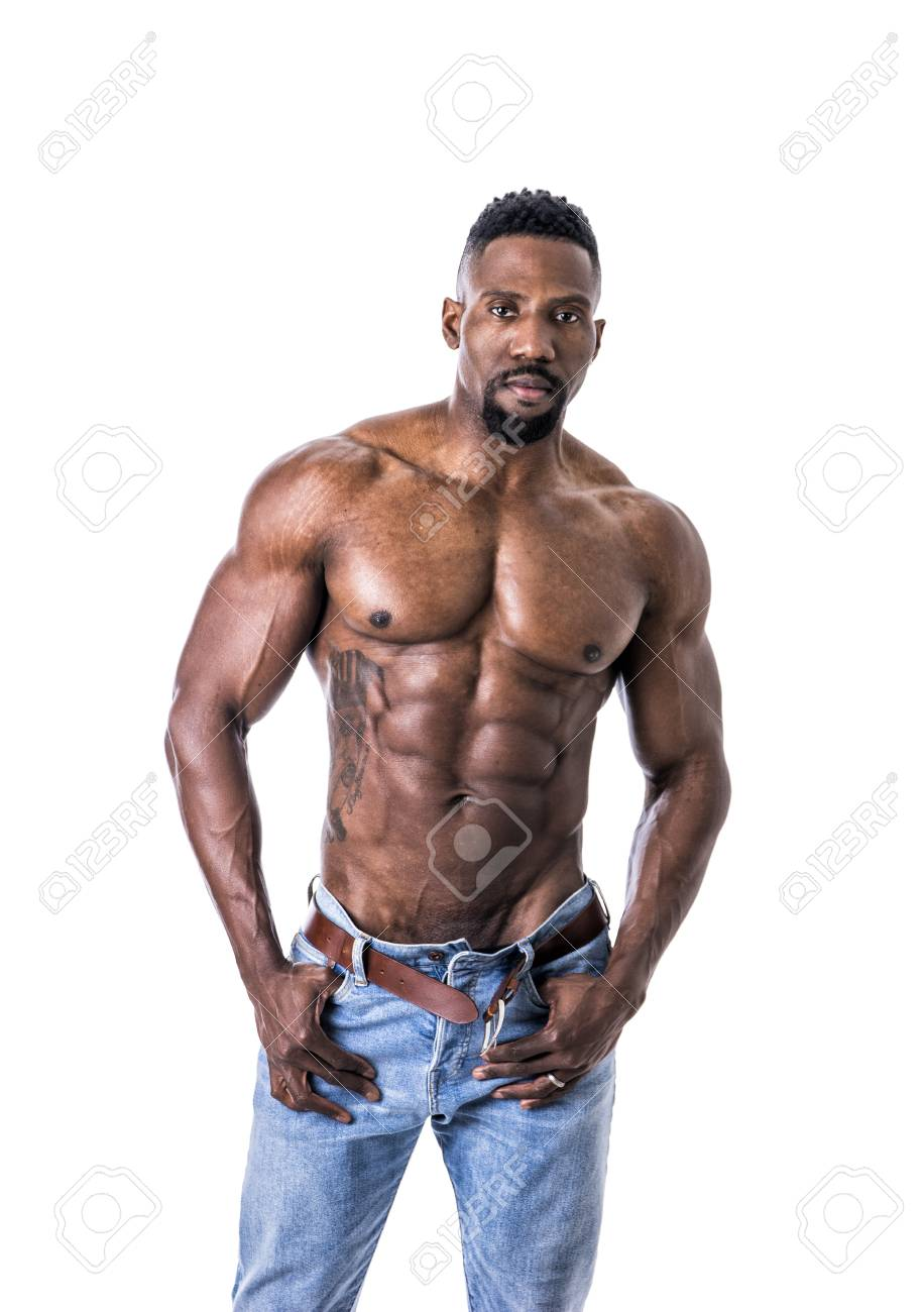 69f5e852ad African American bodybuilder man, naked muscular torso, wearing jeans,  isolated on white background