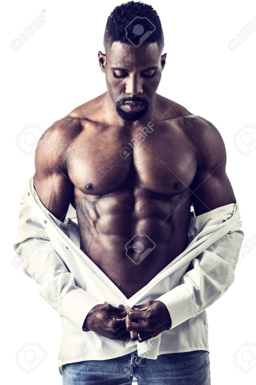 a8597b43ca African American bodybuilder man, wearing jeans and open shirt on naked  muscular torso, isolated