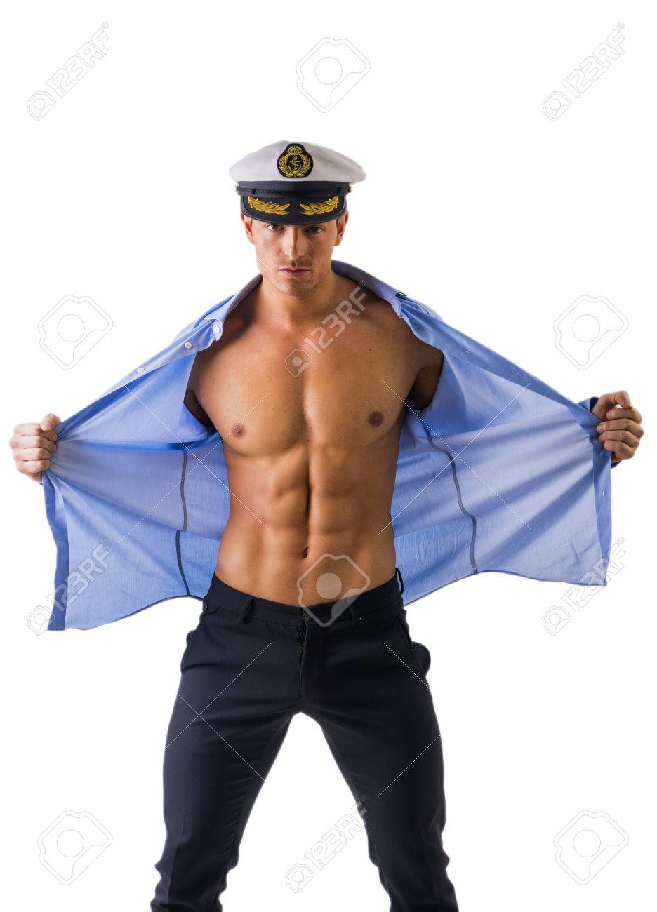 Muscular Male Sailor With Open Shirt On Muscle Torso Wearing