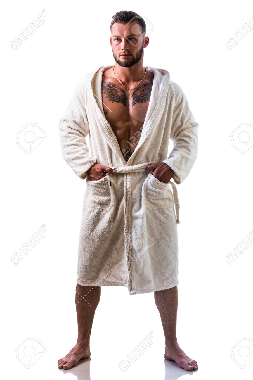 Handsome Young Muscle Man Wearing White Bathrobe Keeping It Stock Photo Picture And Royalty Free Image Image 85498790