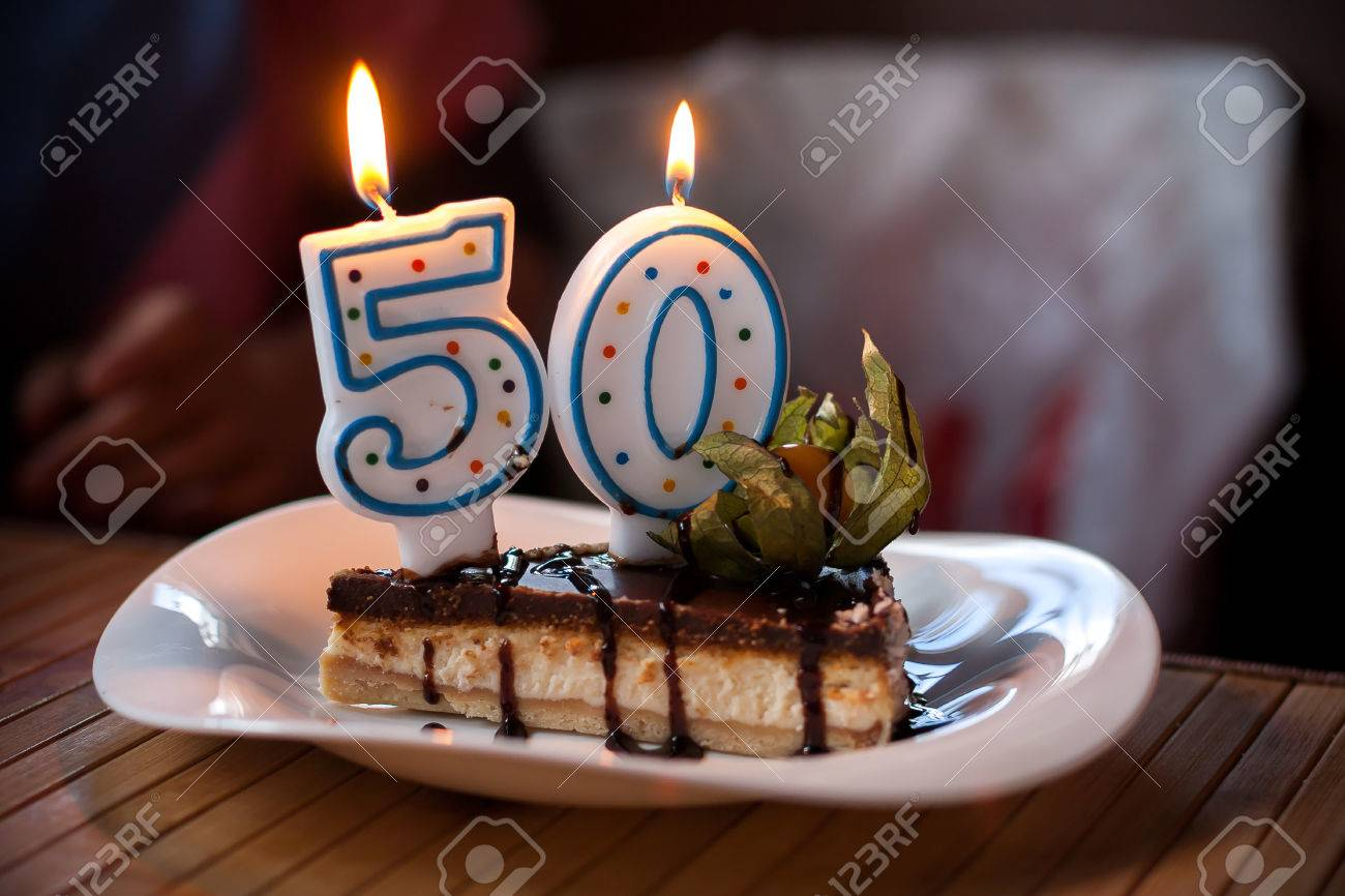 50 Birthday Cake With Candles Happy Anniversary Party Year Stock Photo