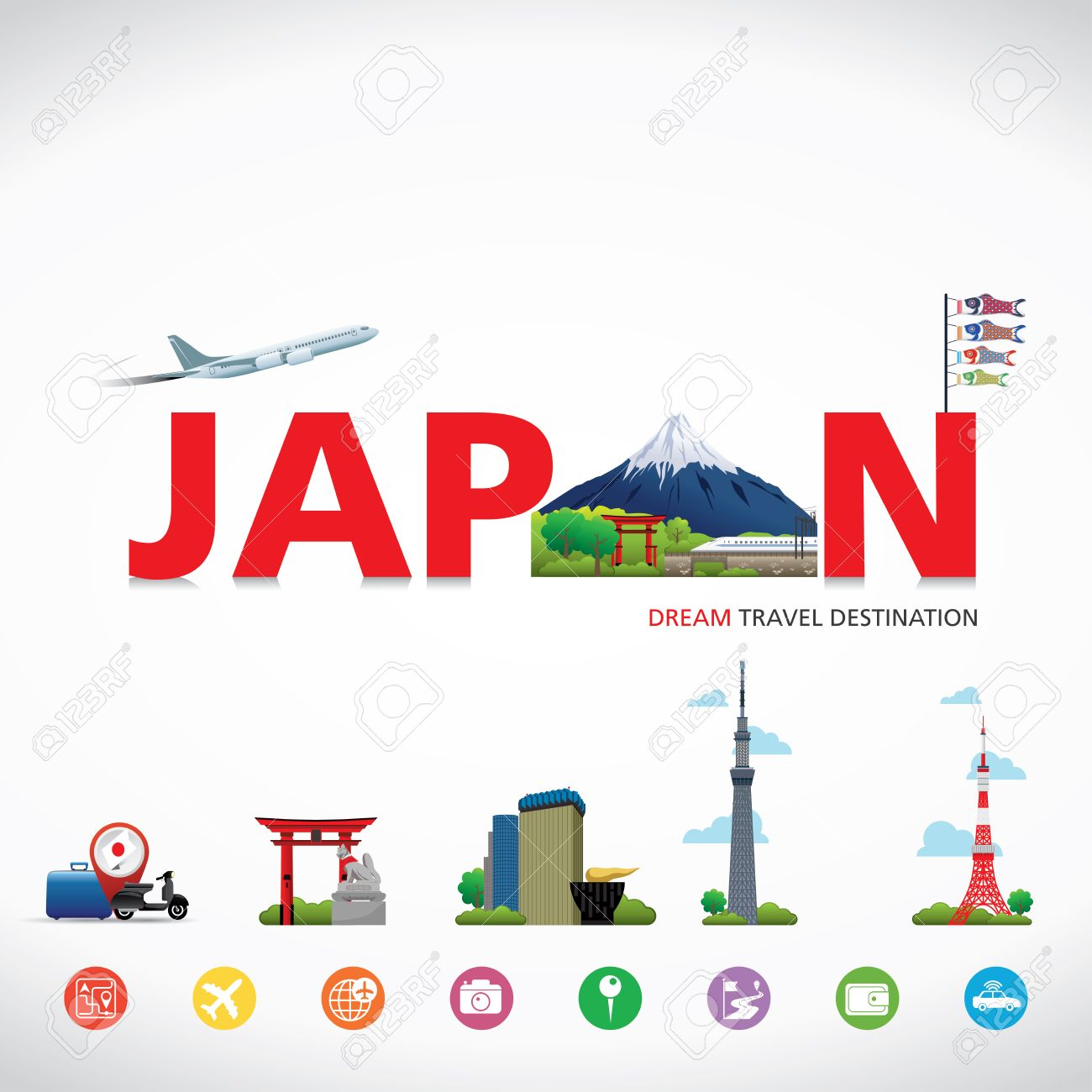 Japan Vector Travel Destinations Icon Set Info Graphic Elements For Traveling To Stock