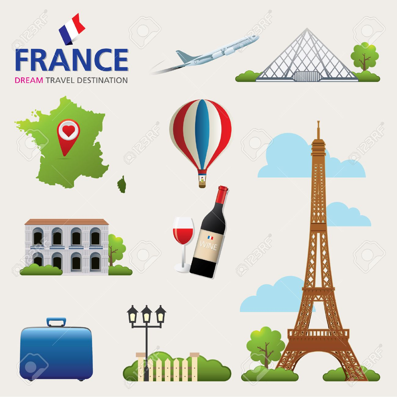 France Vector Travel Destinations Icon Set Stock