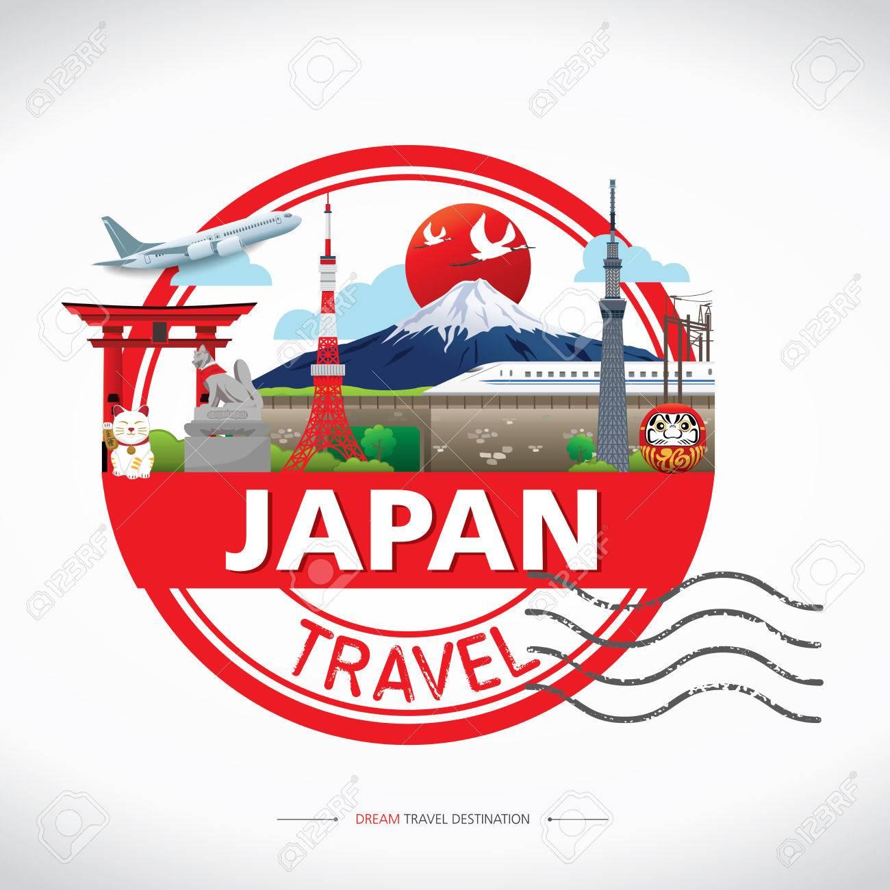 Iconos De Japón Concepto De Diseño Destino Del Viaje, Del Viaje ...