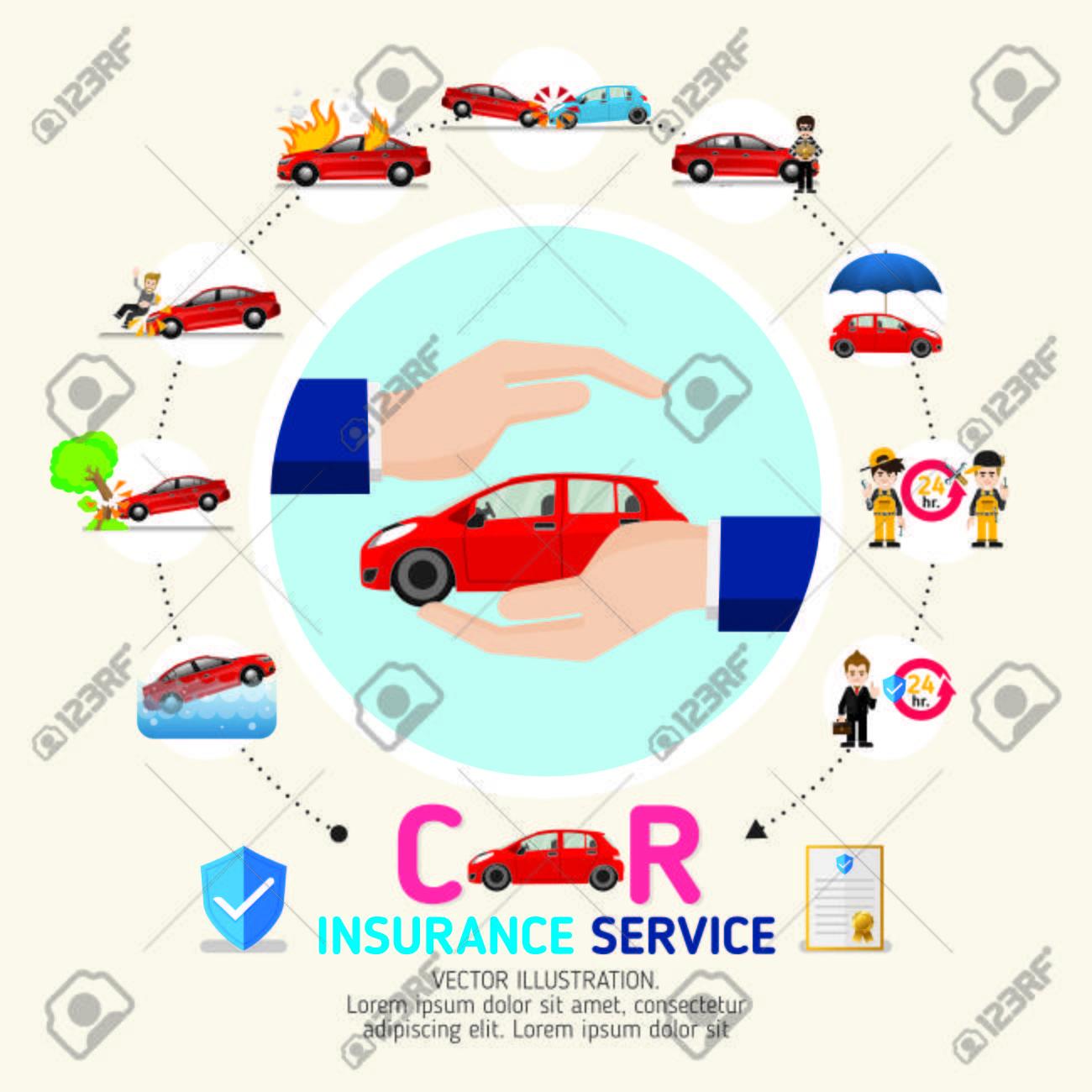 Kfz-Versicherung Business-Service-Icons Vorlage. Kann Für Die ...