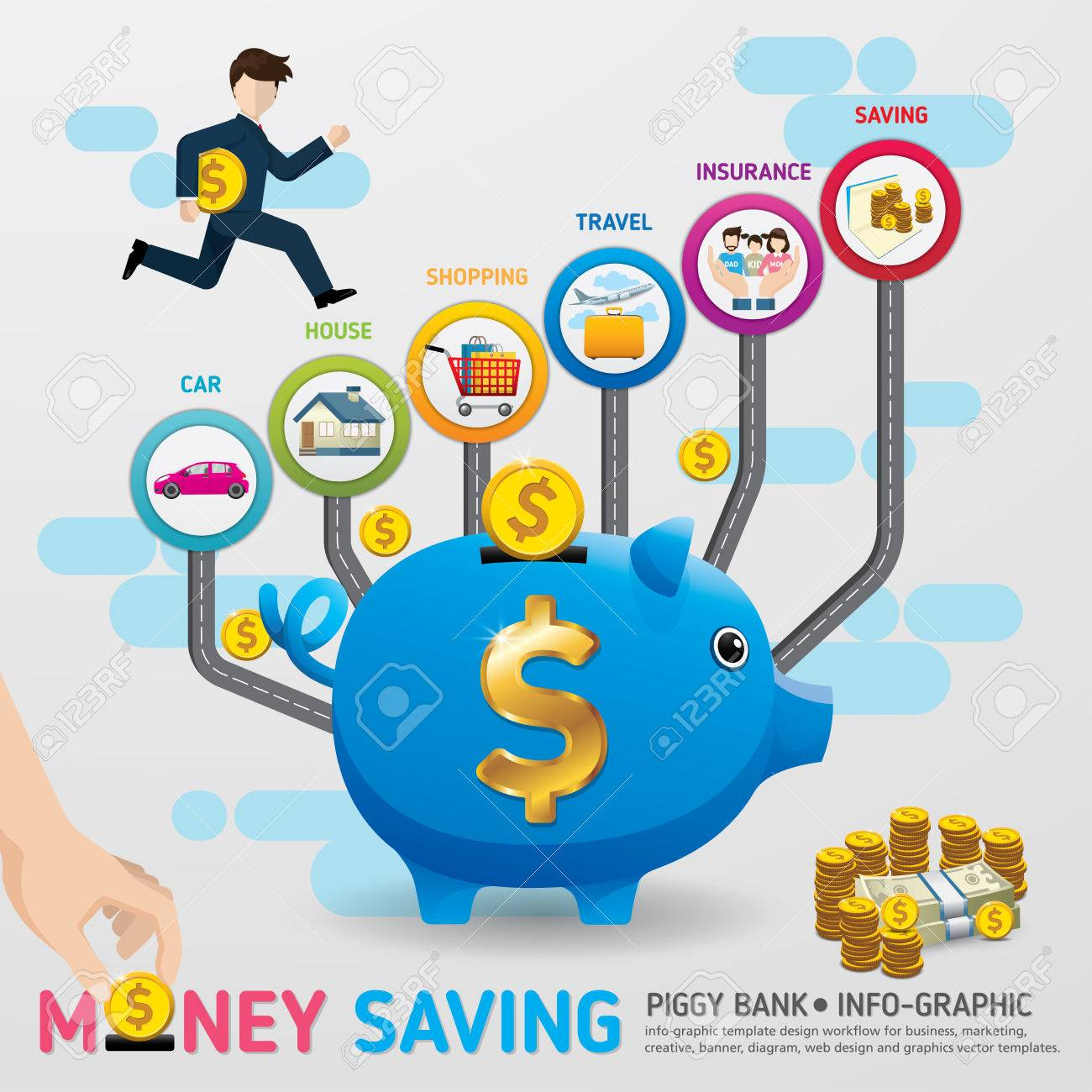 Ahorro De Plantilla De Infografía De Planificación Dinero. Monedas ...