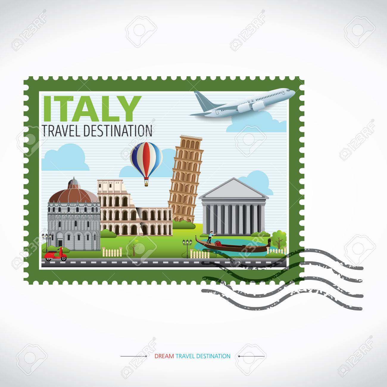 Italia Concepto Del Recorrido De Destino, Viajes Colección De ...