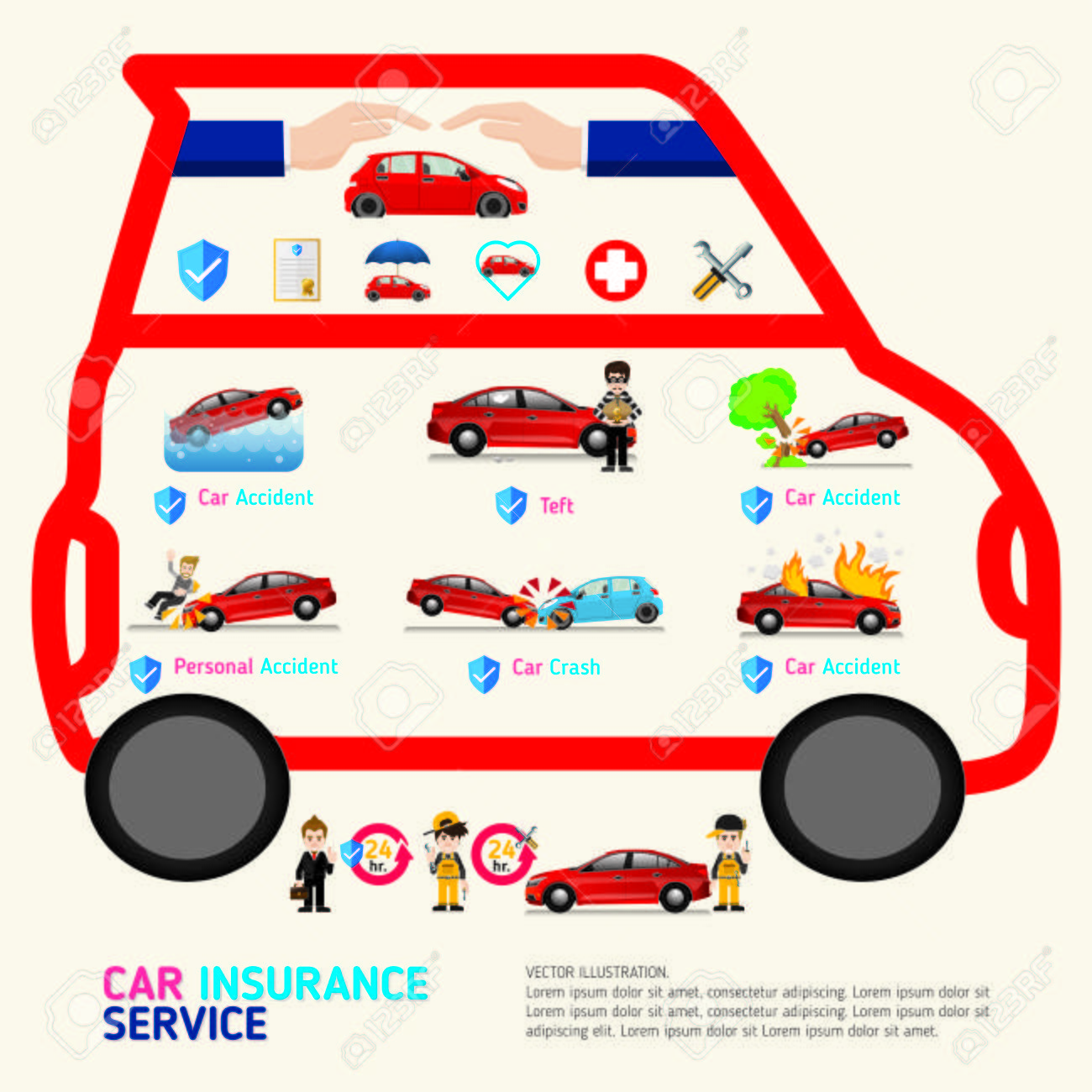 Car Insurance Business Service Icons Template Can Be Used For