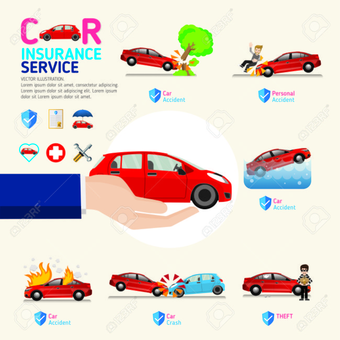 Car Insurance Business Service Icons Template. Can Be Used For ...