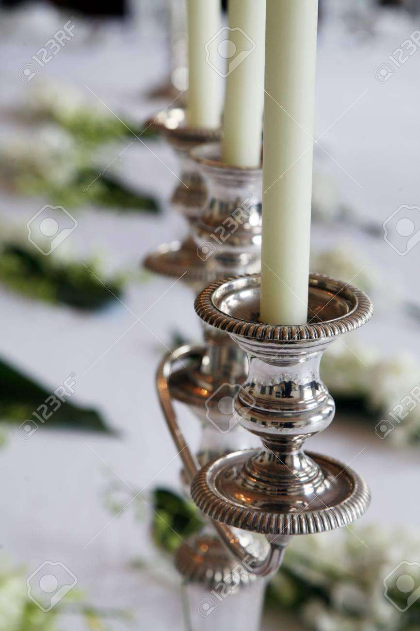Candle Holders With Candles On A Wedding Table Stock Photo Picture And Royalty Free Image Image 95722004
