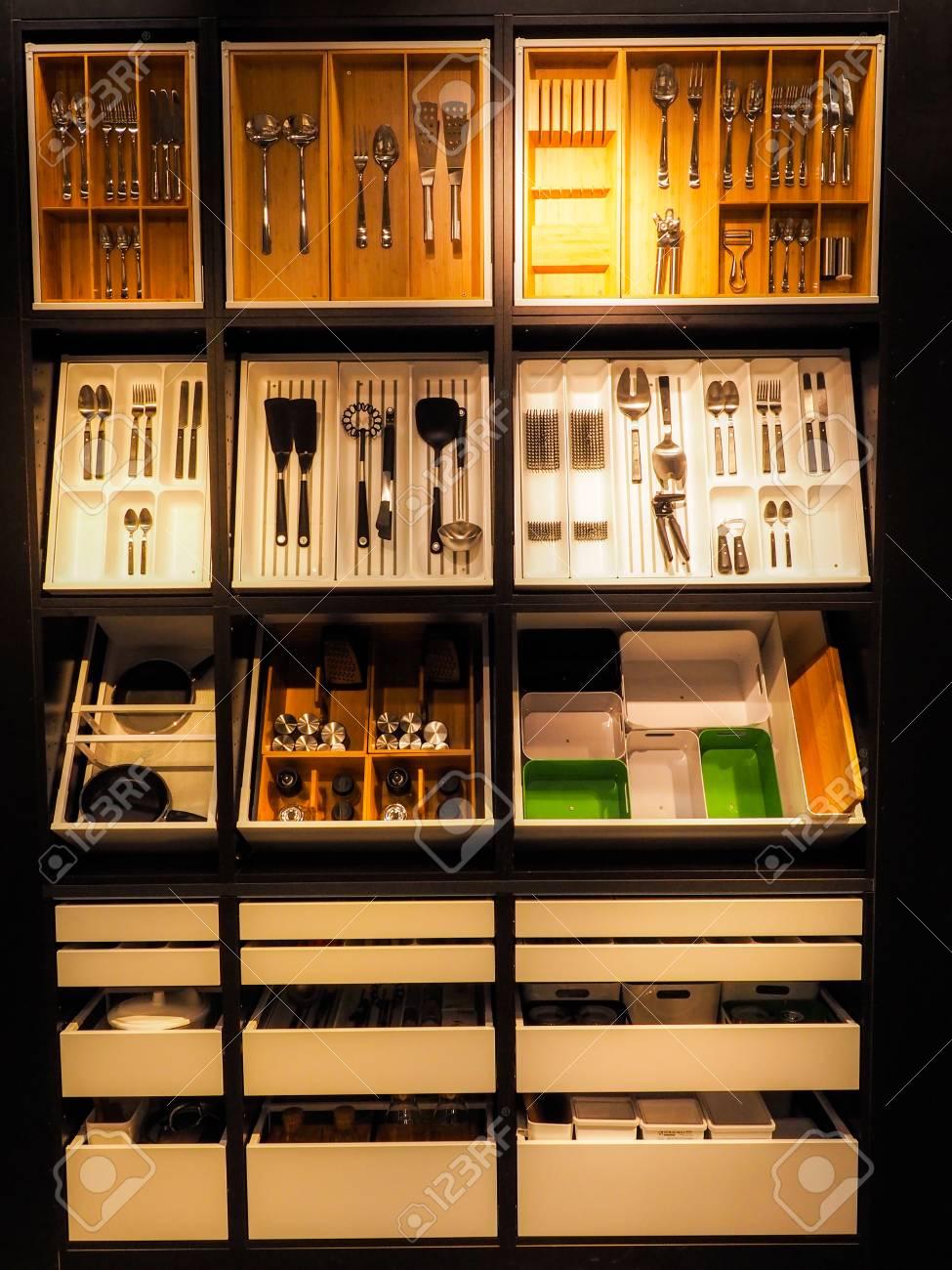 Besteck, Messer, Löffel, Gabel Set Küchenutensilien Lizenzfreie ...