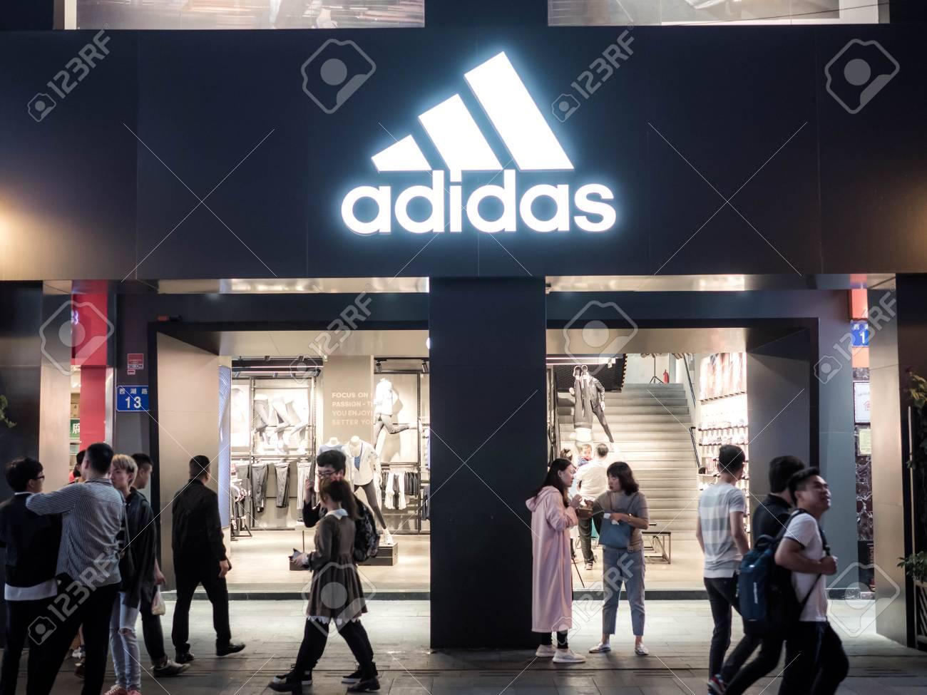 Guangzhou, CHINA-MARCH 27, 2018: Adidas