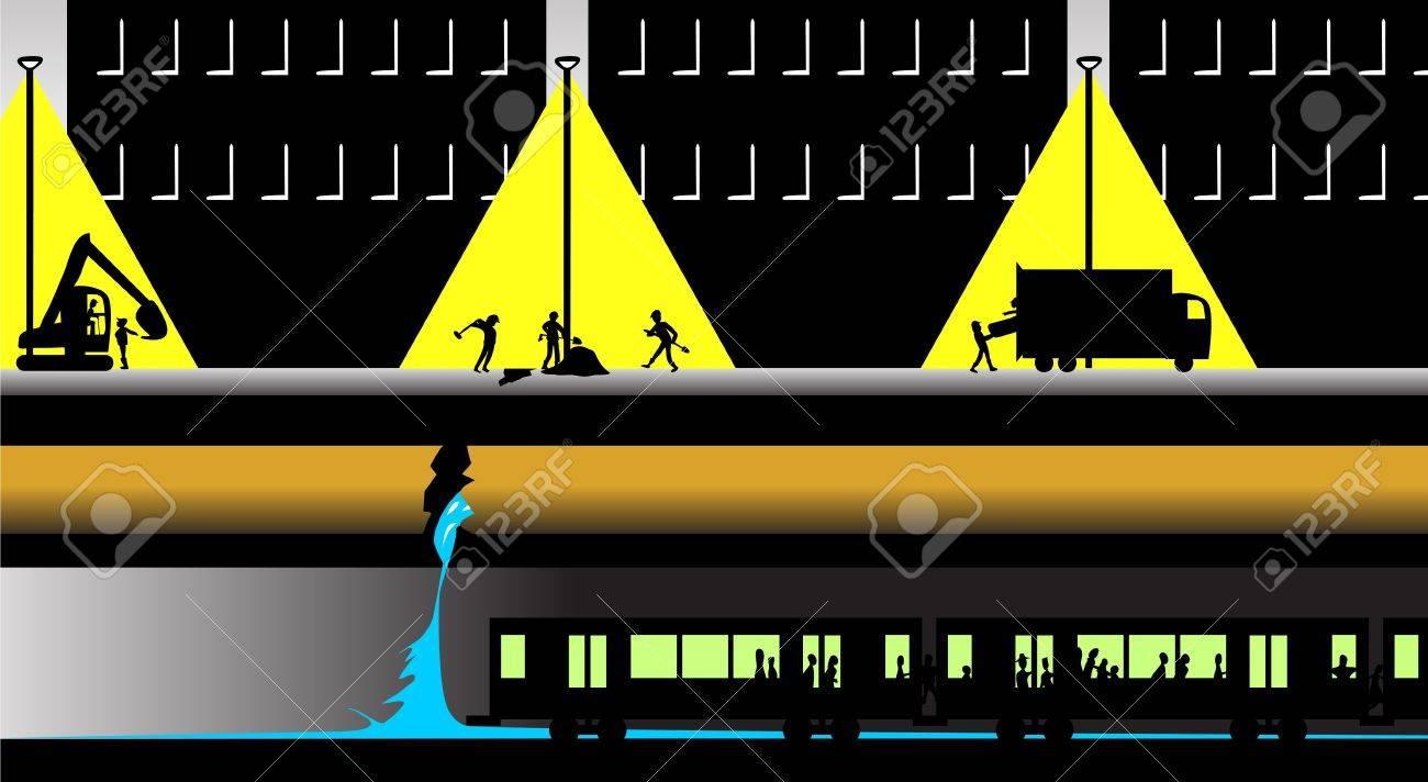 Underground Vector underground tunnel A night