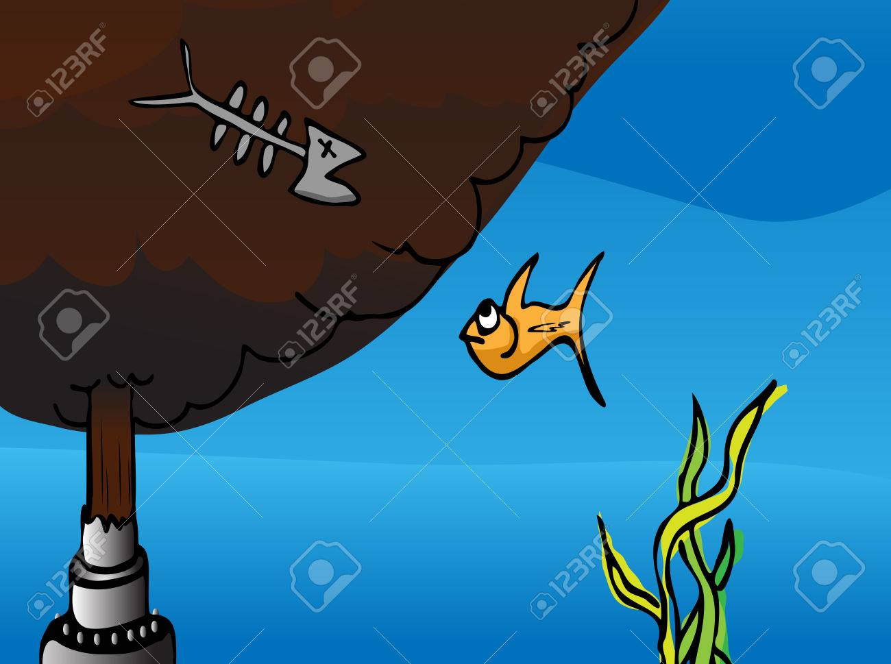Cartoon of a fish watching the dead remains of another fish at a broken oil pipe gushing crude into the ocean. Stock Vector - 7337837