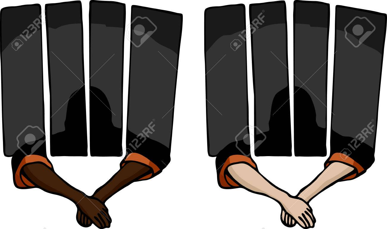 Prisoner holding arms outside of a jail cell. Includes two variations. Stock Vector - 7689863