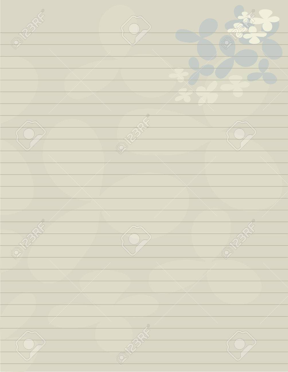 Lined Paper Stationery With Flowery Pedals In Earth Tones Royalty – Lined Stationary Paper