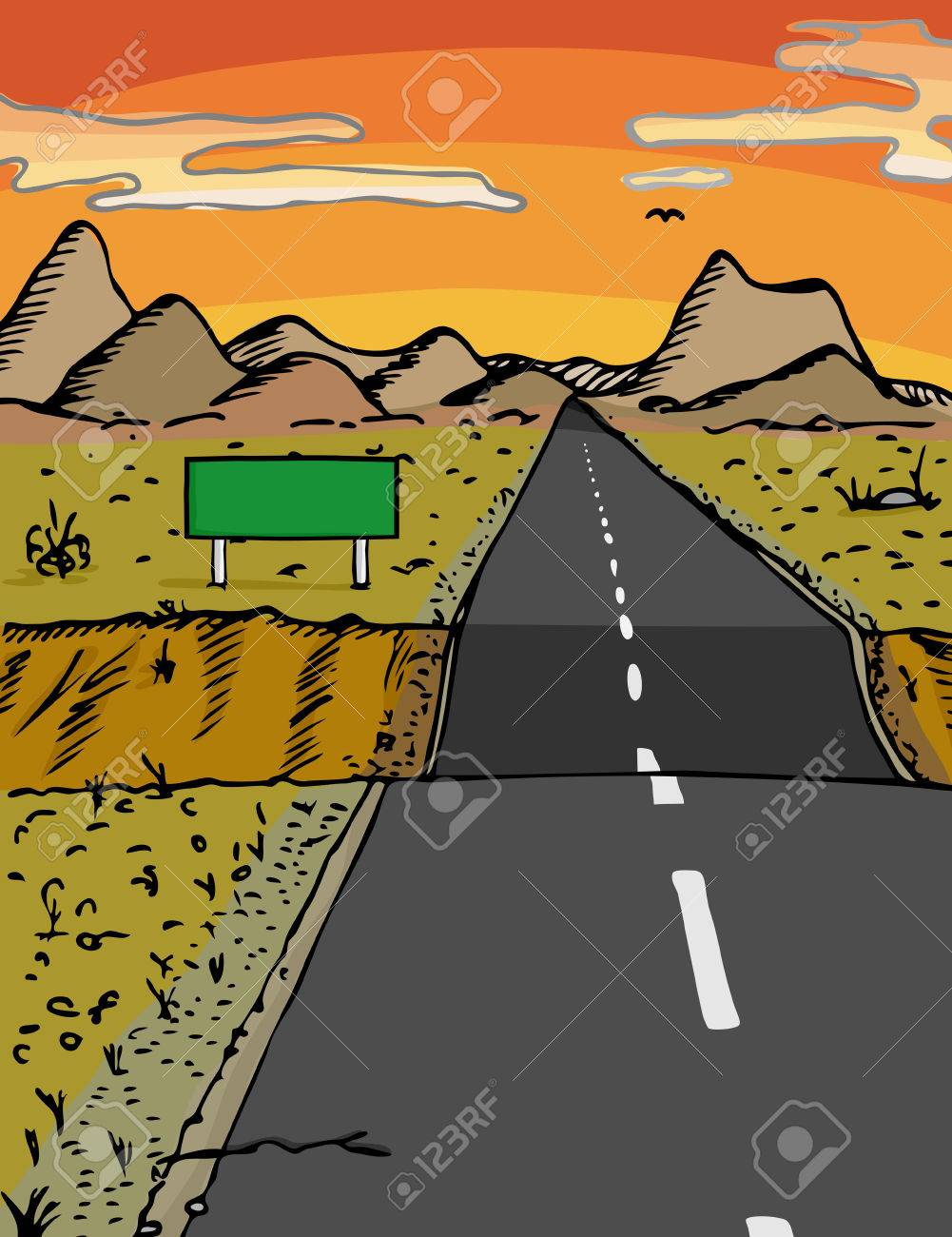 Road with dip and blank sign in a desert area during sunset Stock Vector - 8413974