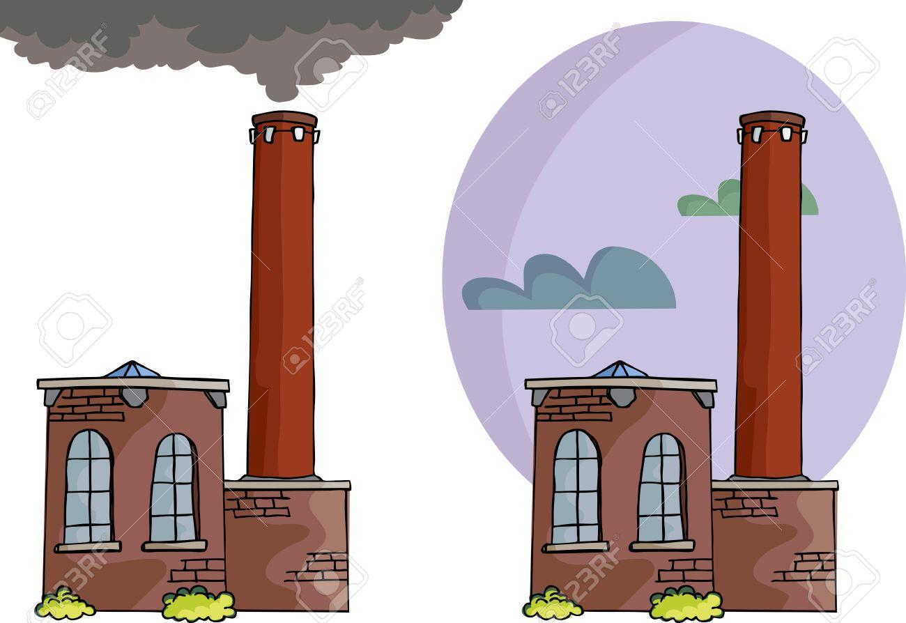 здание с трубой дымовой