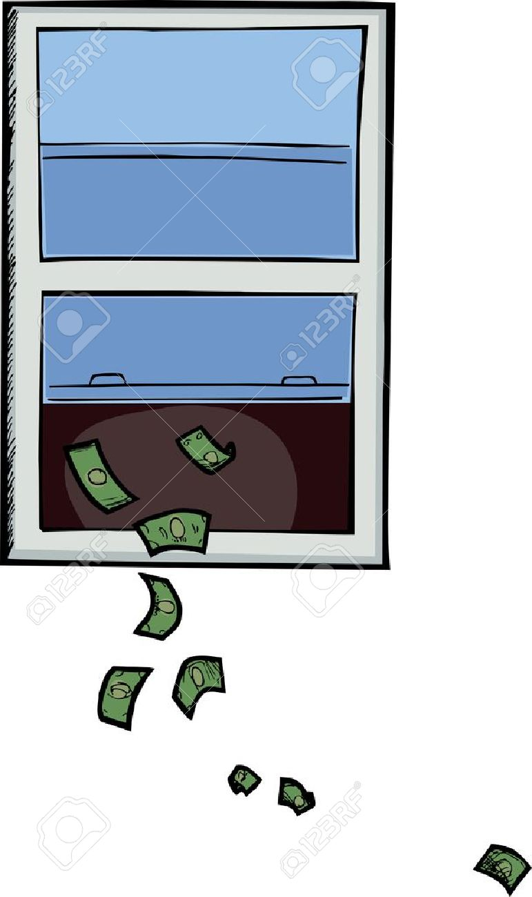Illustration about wasting or throwing money out the window Stock Vector - 10257388