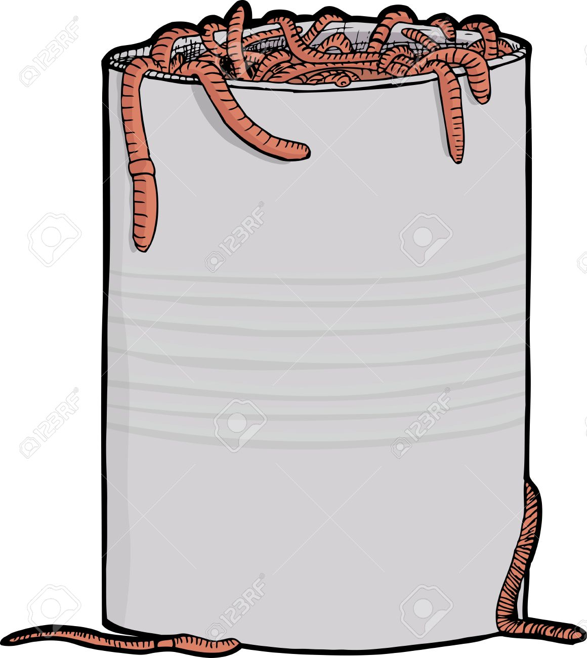 Dozens of worms squirm around a metal can Stock Vector - 10264827