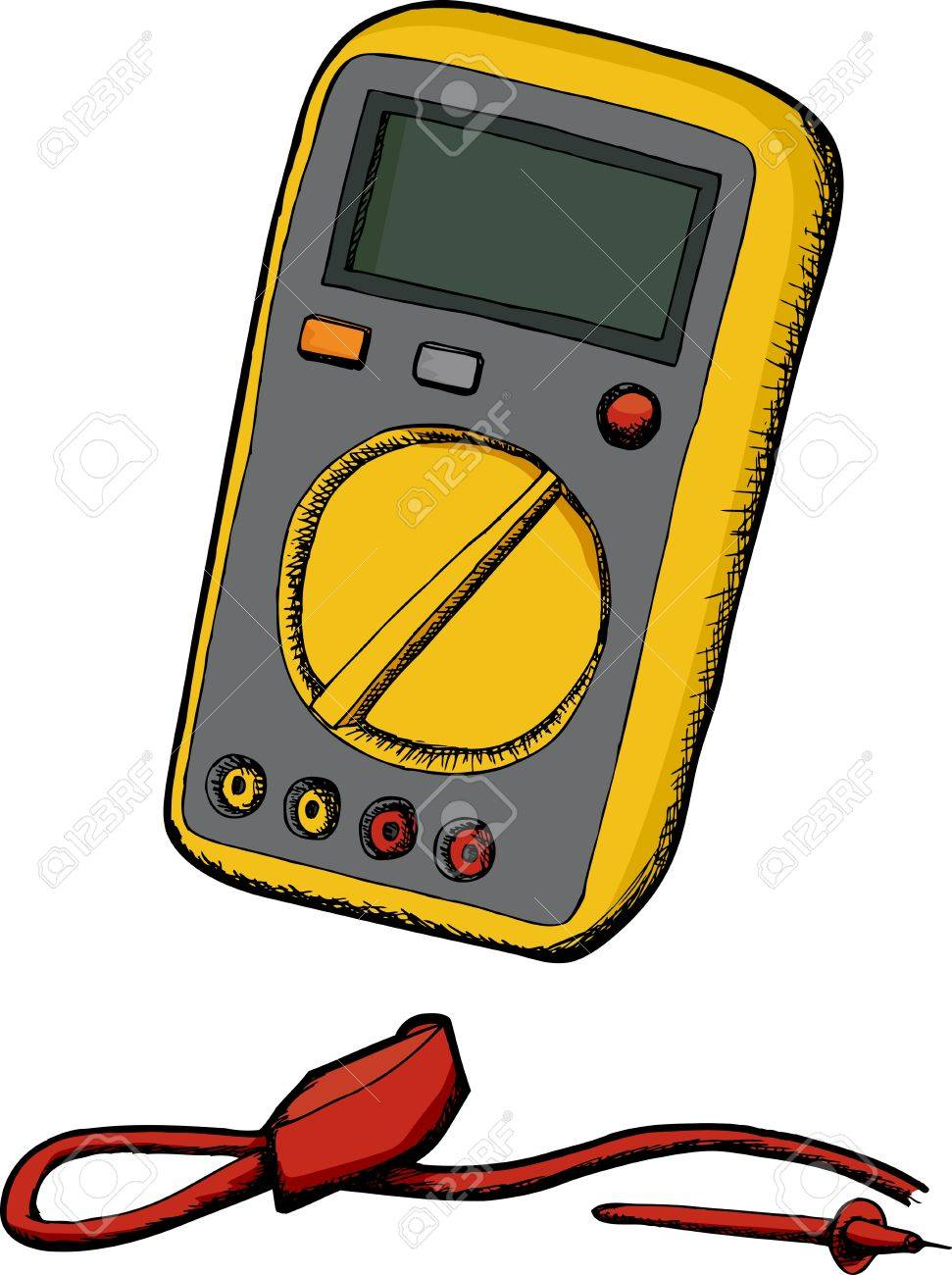 Generic multimeter with cord and probe isolated over white Stock Vector - 11780006