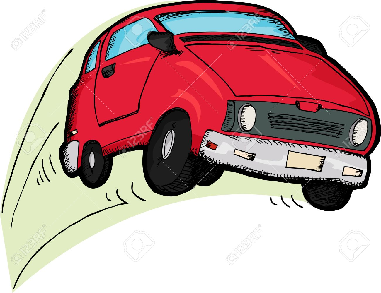 Little Red Car >> Little Red Car Cartoon Bouncing Over White Background