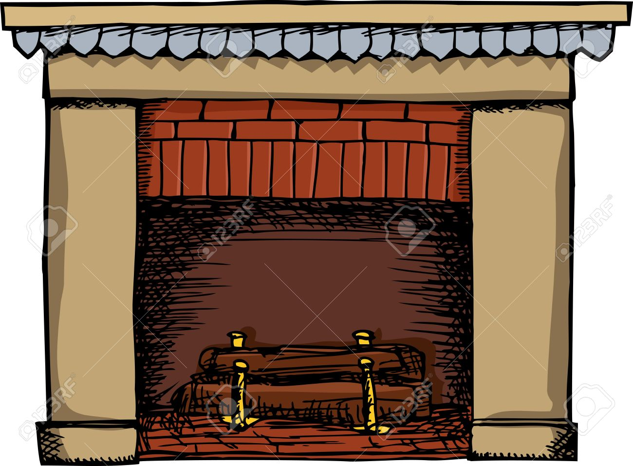 unlit fireplace with logs isolated over white background royalty