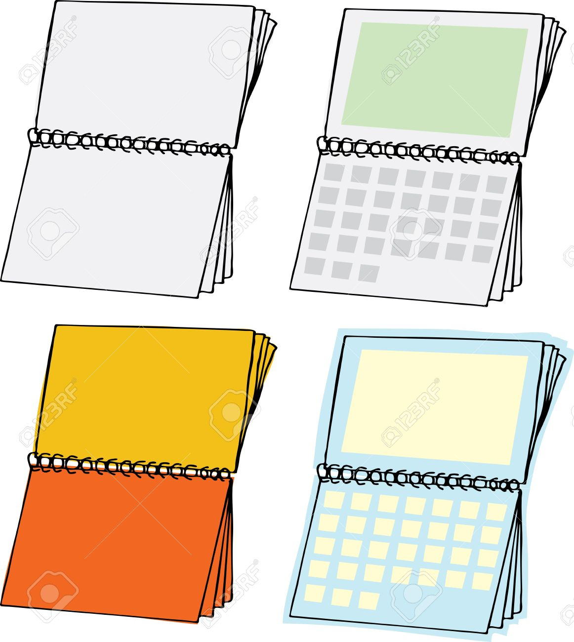 Four Types Of Blank Spiral Bound Calendars Royalty Free Cliparts ...