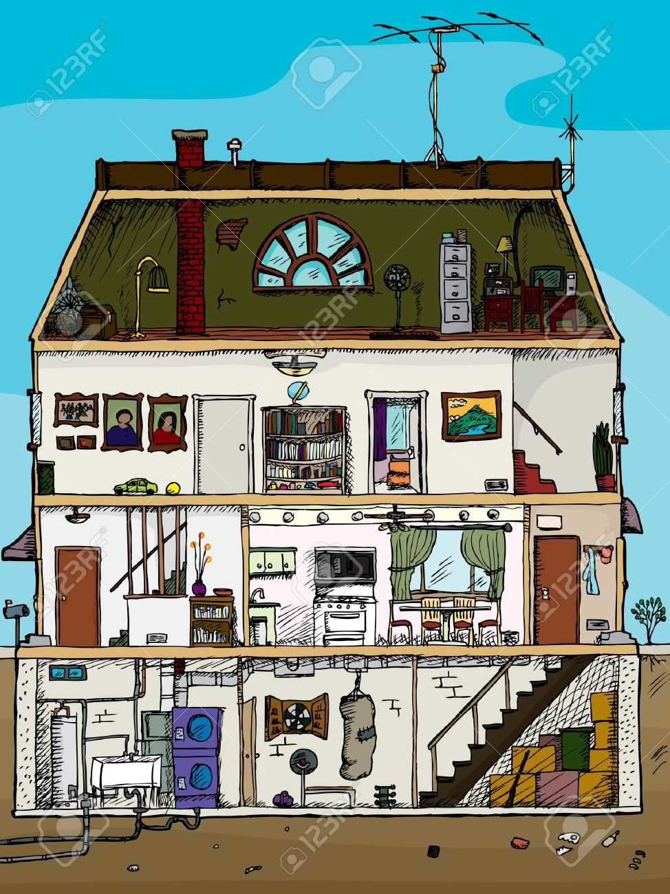 3 story old house cartoon cross section with basement royalty free