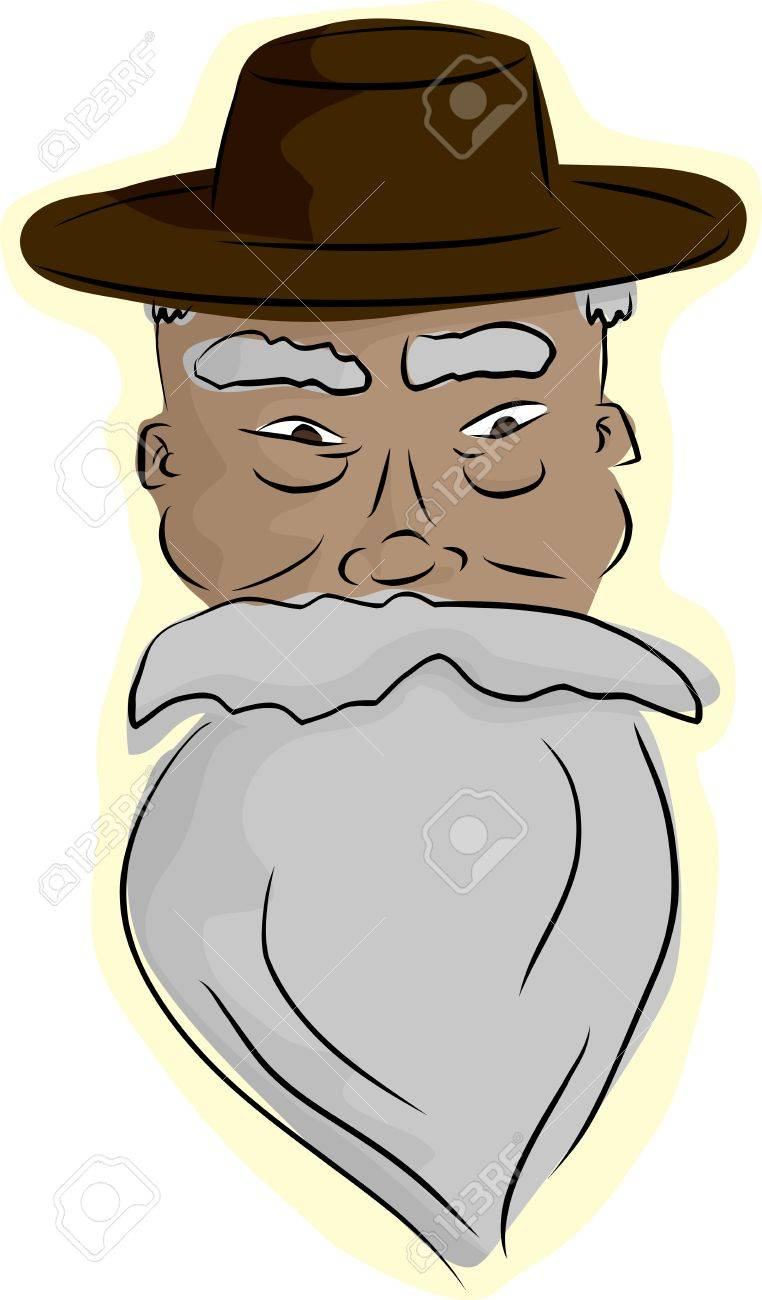 Bearded senior Asian man with hat on isolated background Stock Vector - 16741731