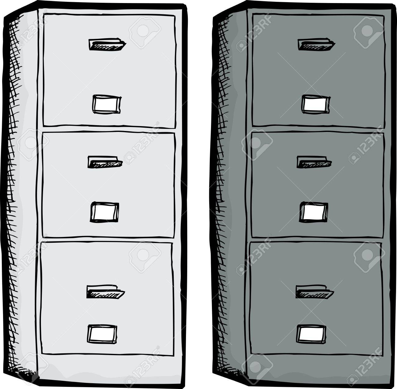Vector   White And Black Filing Cabinets Isolated Over White Background