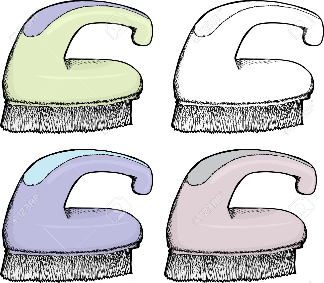 Isolated hand drawn plastic scrub brush in various colors Stock Vector - 17272201