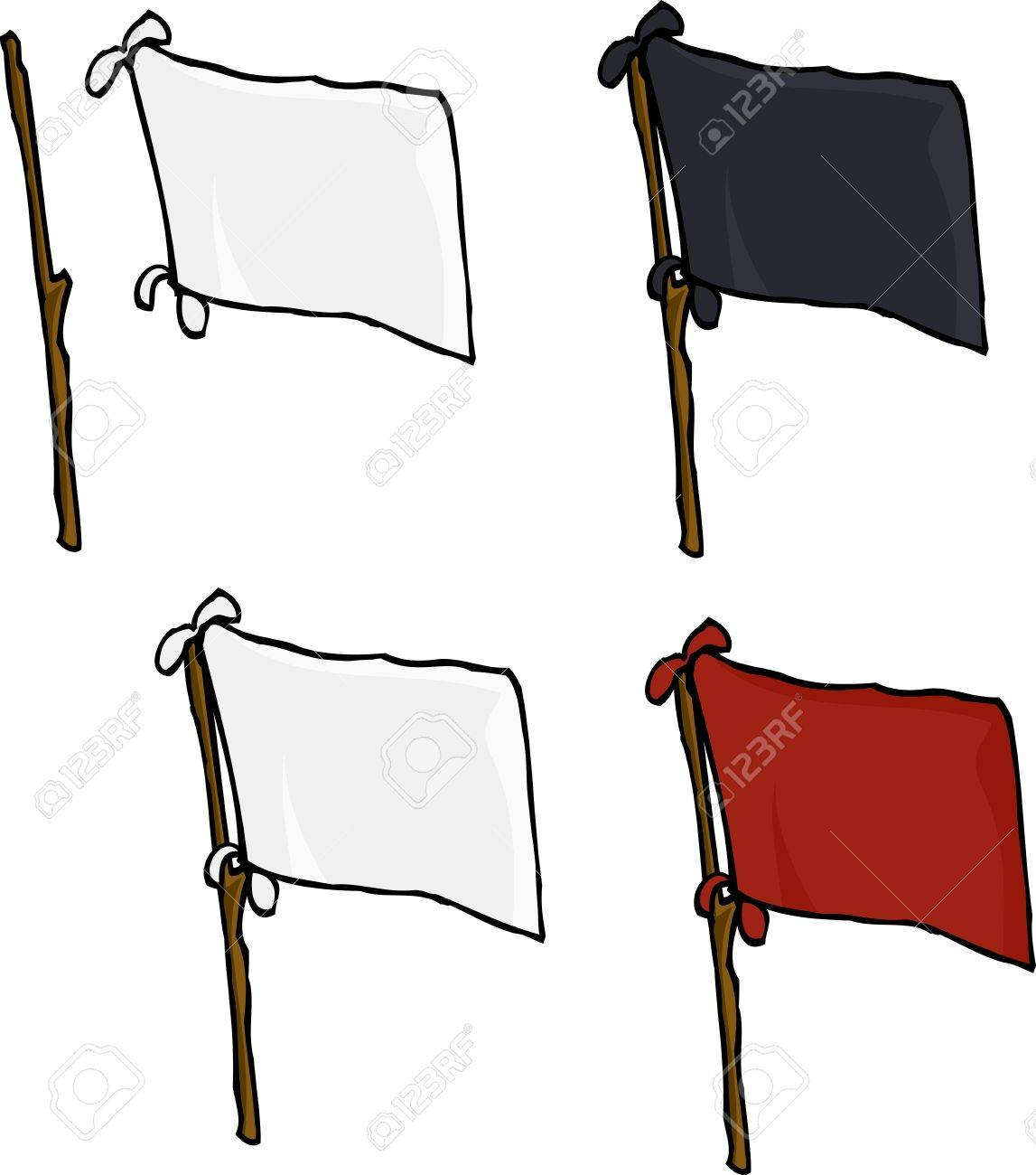 Blank flags made from sheets on stick over white background Stock Vector - 17619345